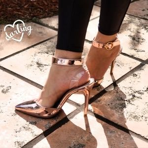 Shoes - NEW PINK METALLIC ANKLE STRAP HEELS